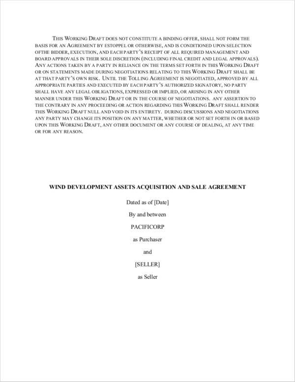 wind development asset acquisition and sale agreement