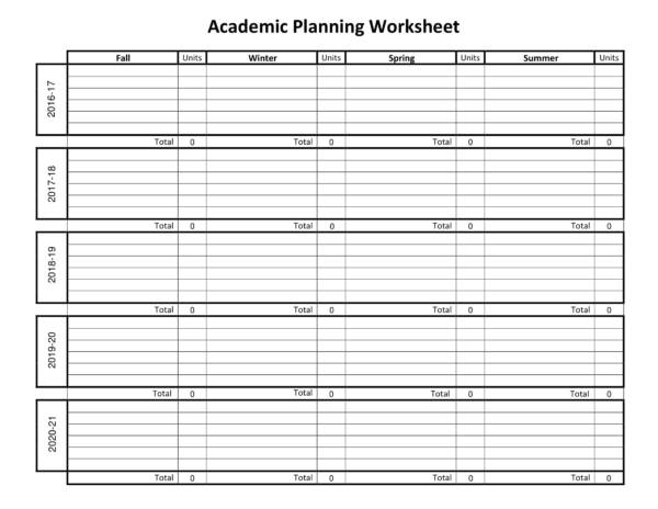 academic planning worksheet template 1
