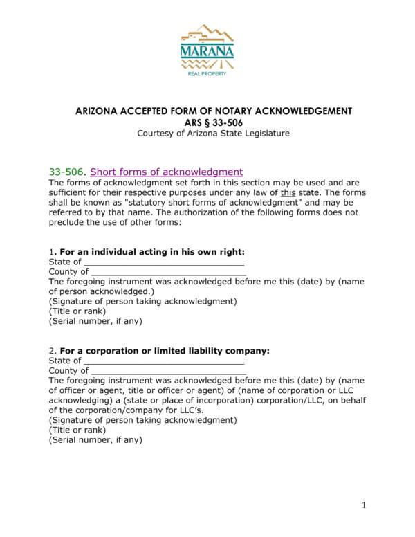 accespted forms of notary acknowledgement 1