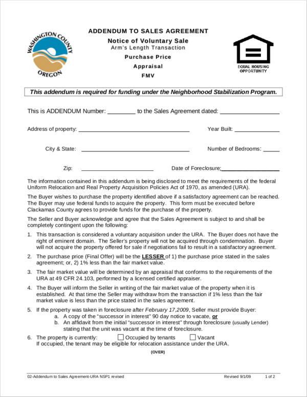 addendum to sales agreement
