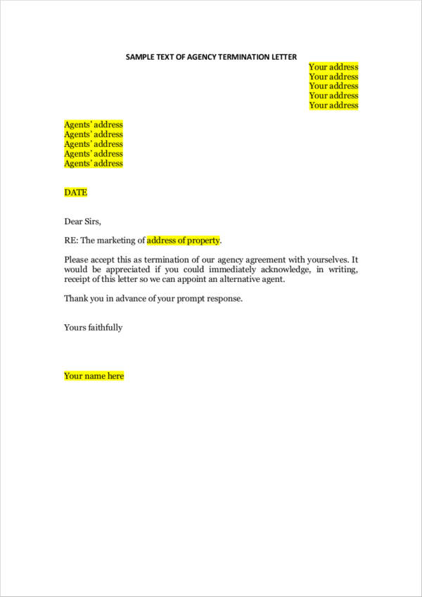 agency agreement termination letter
