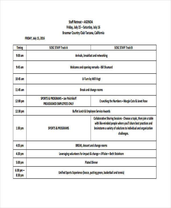 agenda template for staff retreat