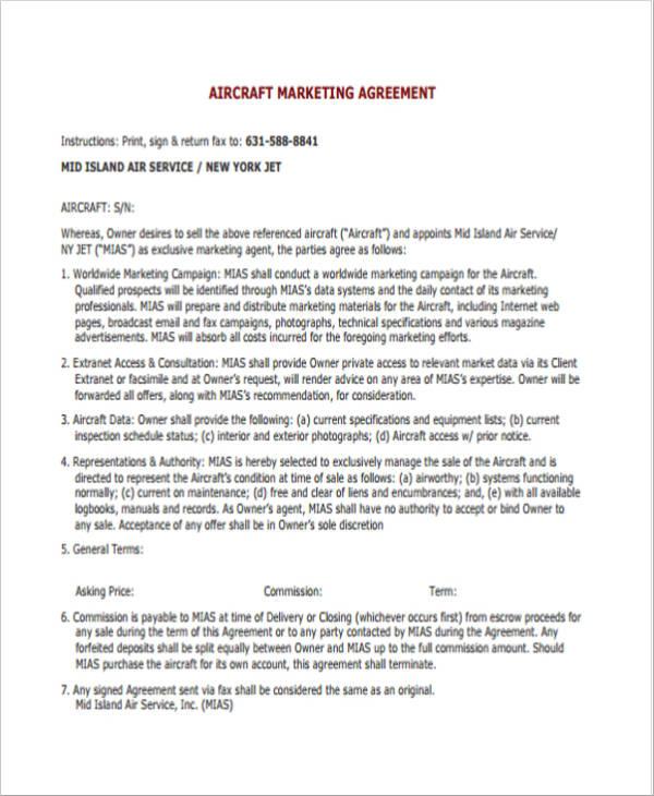 aircraft marketing agreement