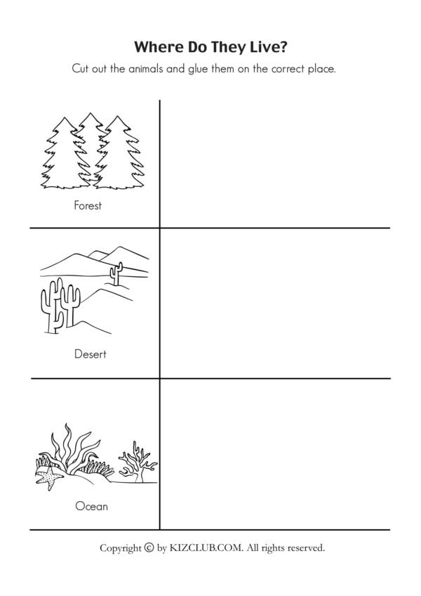 animal habitat worksheet 1