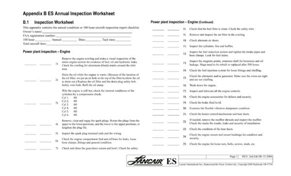 annual aircraft inspection worksheet 1