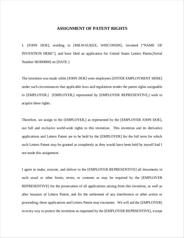 assignment of patent rights sample