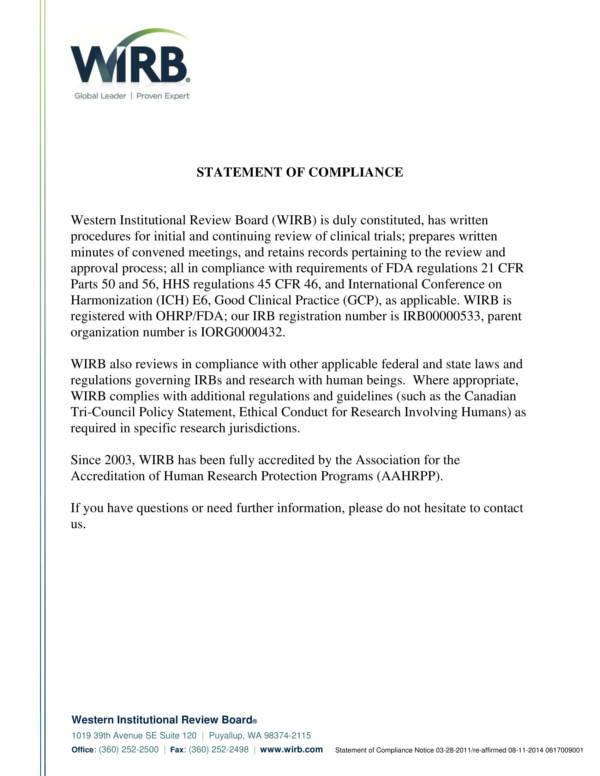 assurance of compliance statement