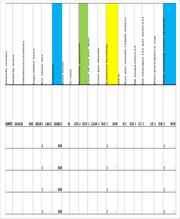 auto loan calculator spreadsheet