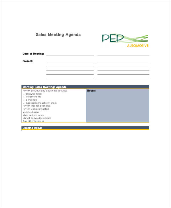 basic sales meeting agenda example