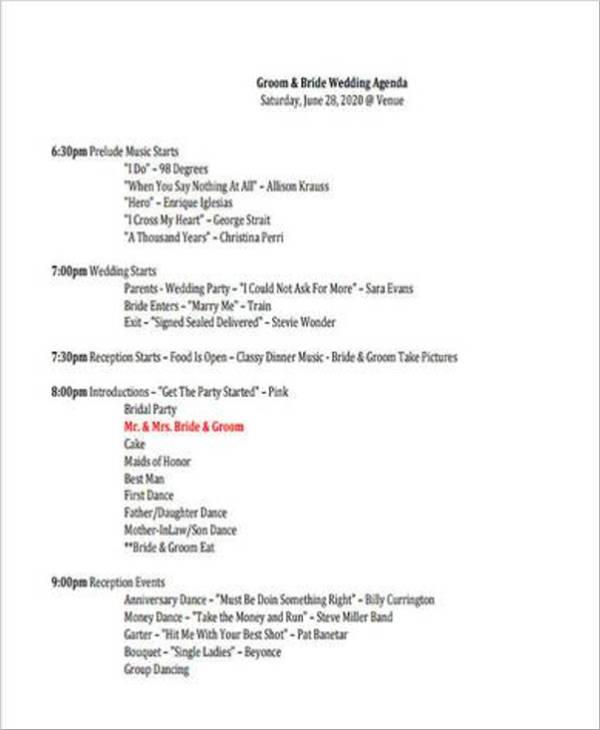 basic wedding party agenda