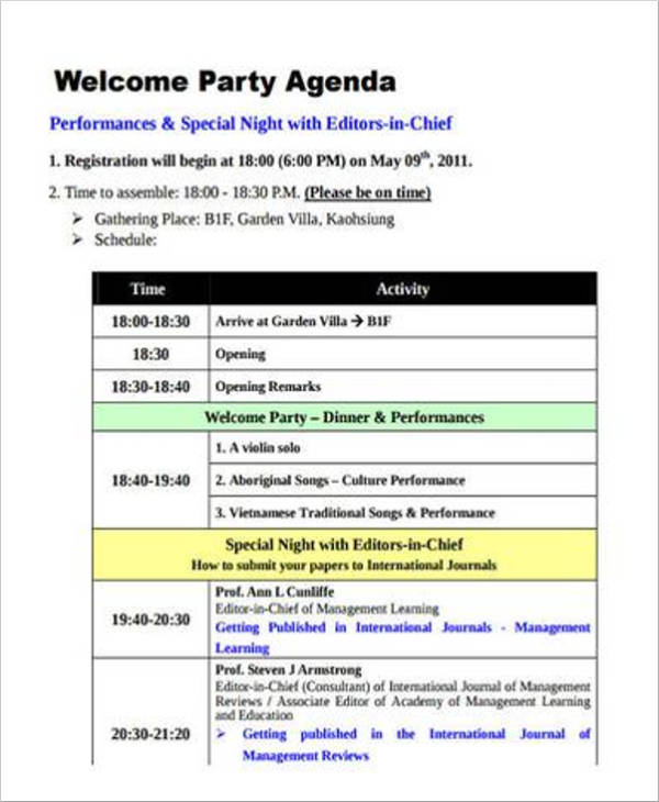 basic welcome party agenda