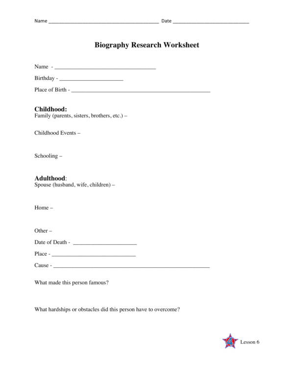 biography research worksheet template 1