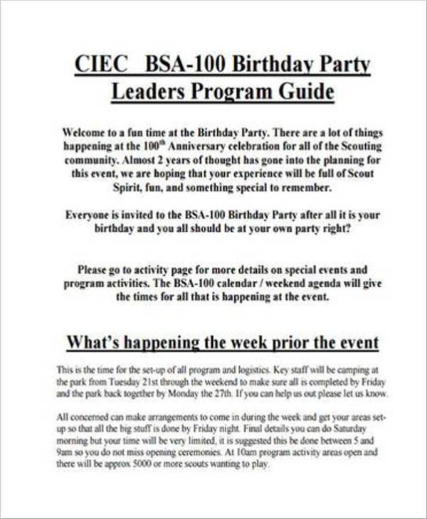 birthday party program agenda