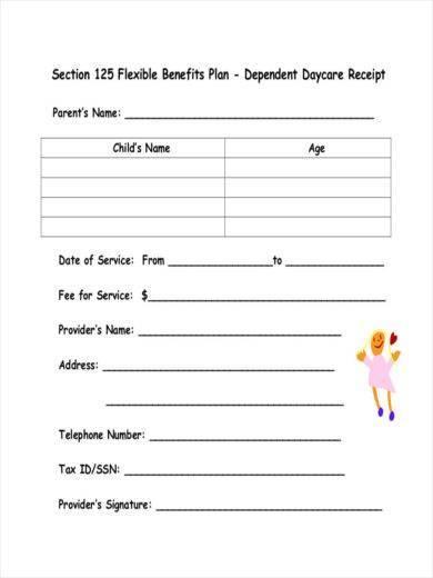blank daycare receipt