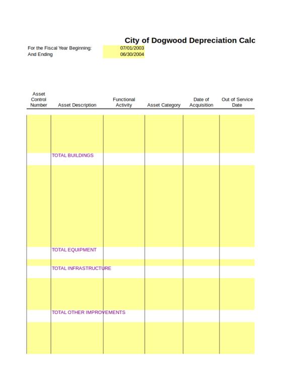 blank depreciation schedule worksheet