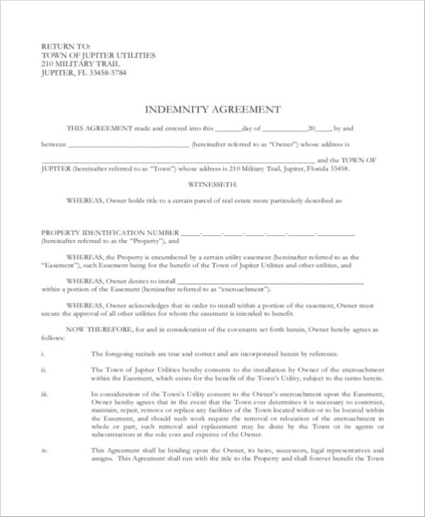 blank indemnity agreement