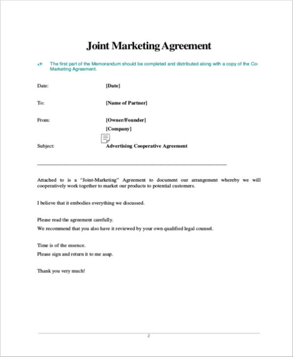 blank joint marketing agreement