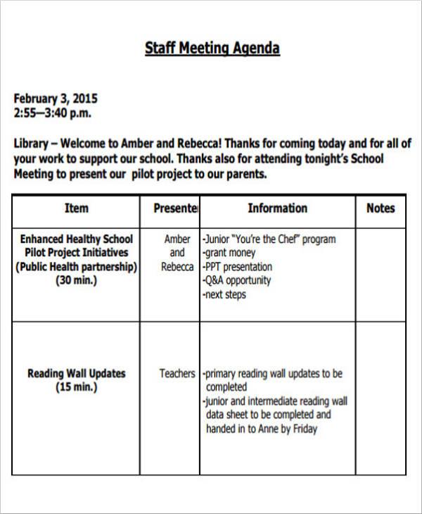 blank staff meeting agenda template