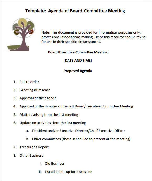board meeting agenda template in pdf