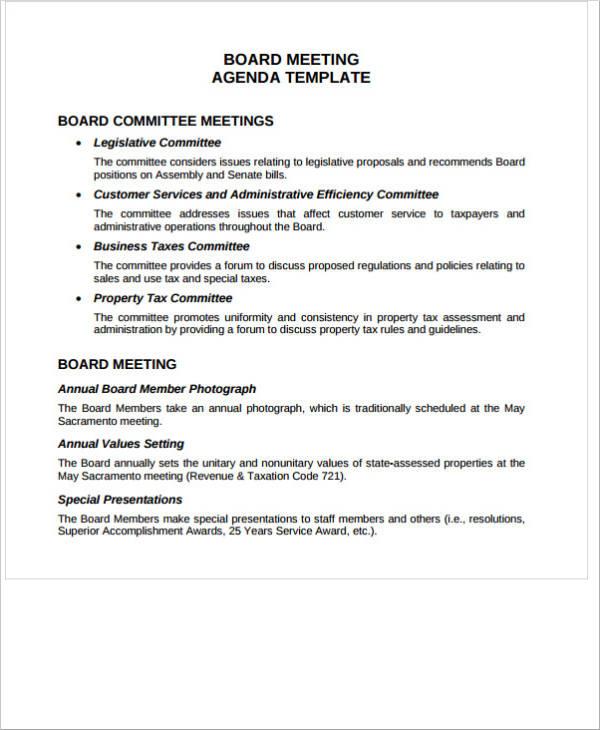 board meeting agenda template