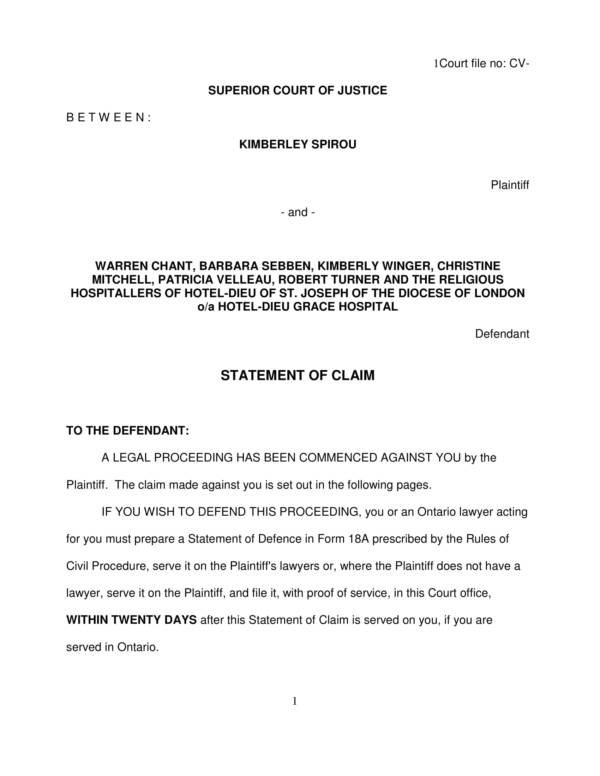 breach of contract statement of claim 01