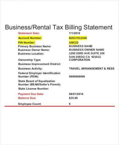 business rental tax billing statement template
