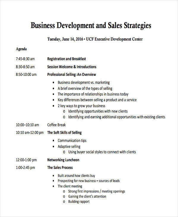 business sales strategy agenda