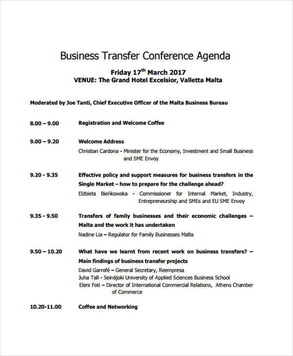 business transfer conference agenda