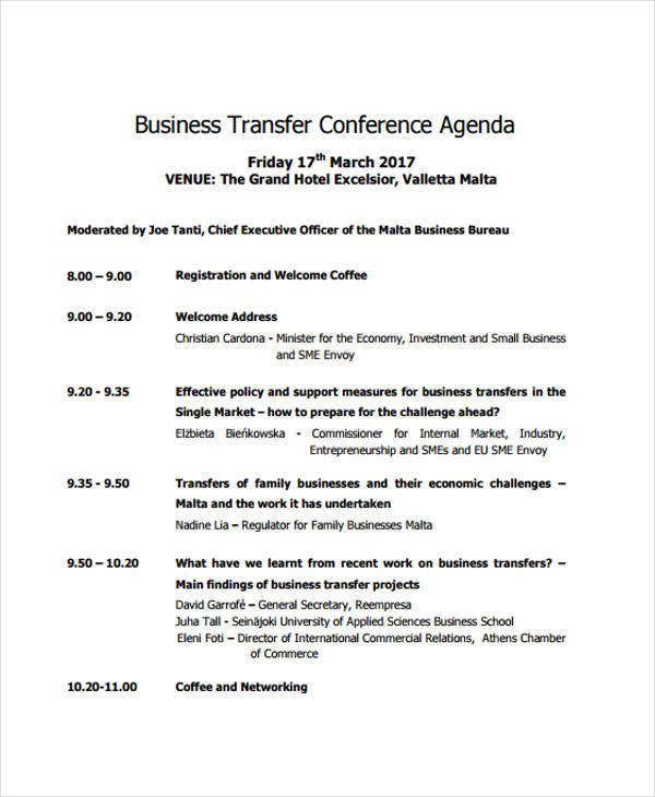 business transfer conference agenda