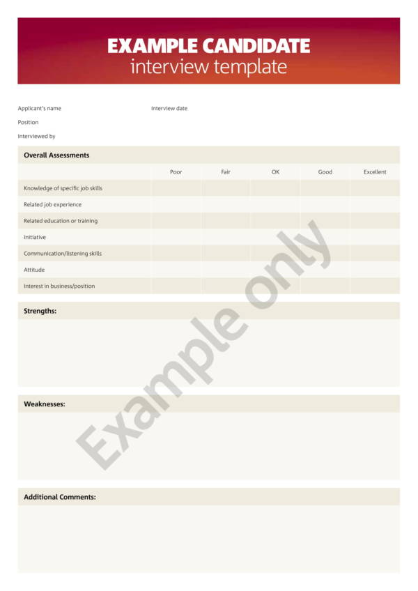 candidate interview sample template 1