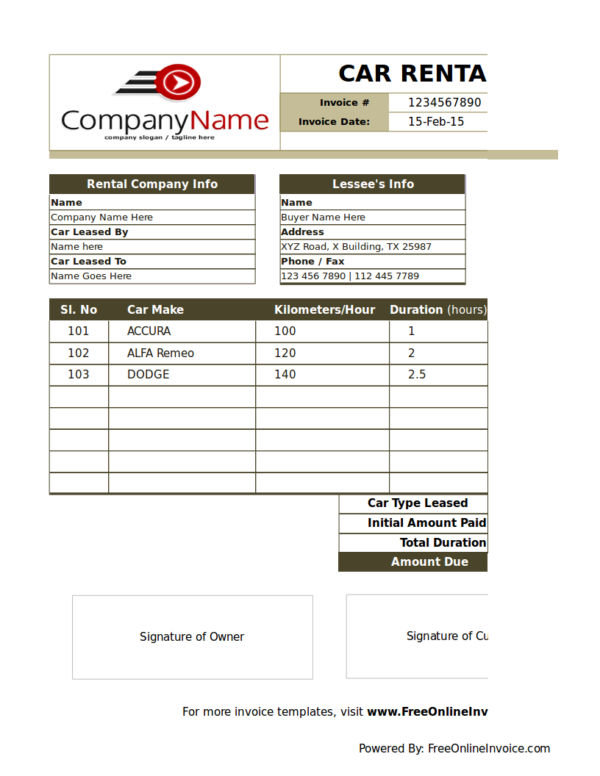 car rental billing statement template