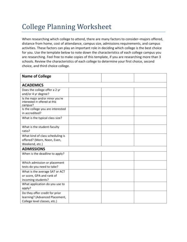 college planning worksheet template 1