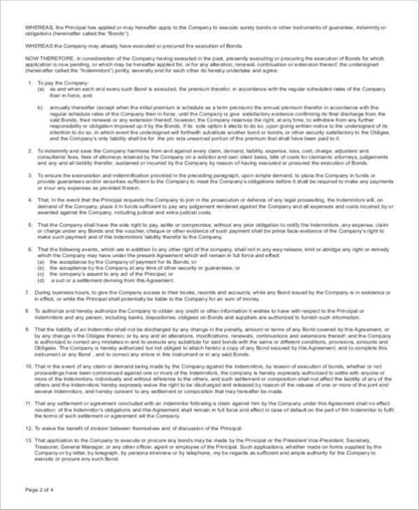 15 indemnity agreement samples and templates pdf for Suretyship agreement template