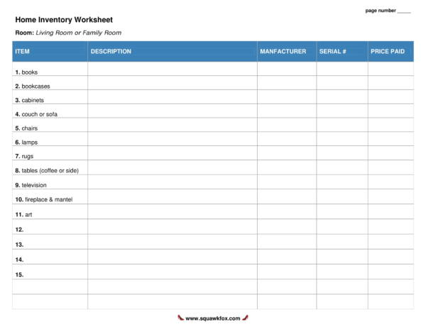 complete home inventory worksheet 01