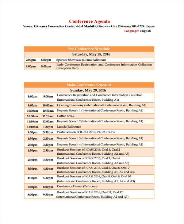 conference schedule agenda template
