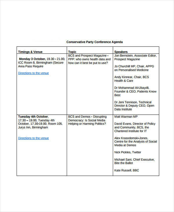 conservative party conference agenda template