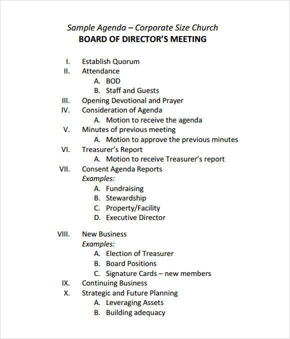 corporate board meeting agenda template sample