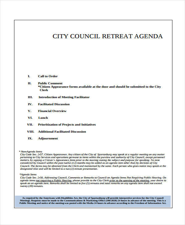 council retreat agenda