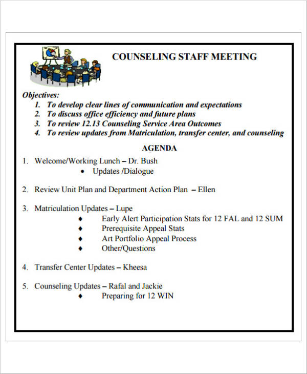 counseling staff meeting agenda