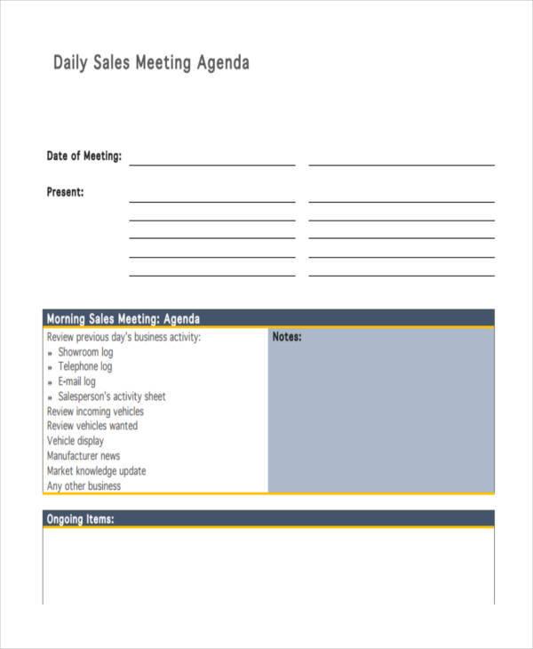 daily sales meeting agenda