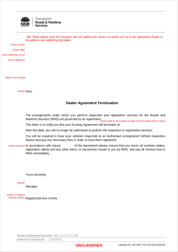 dealer agreement termination