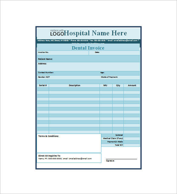 8+ Dental Receipt Samples & Templates – PDF, Word, Excel | Sample ...