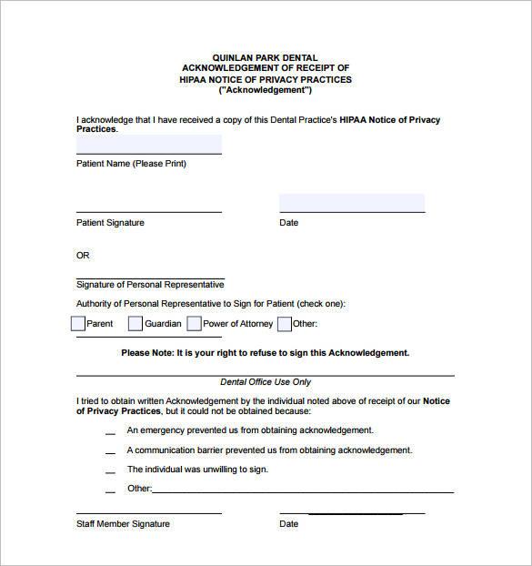 dental services acknowledgement reciept