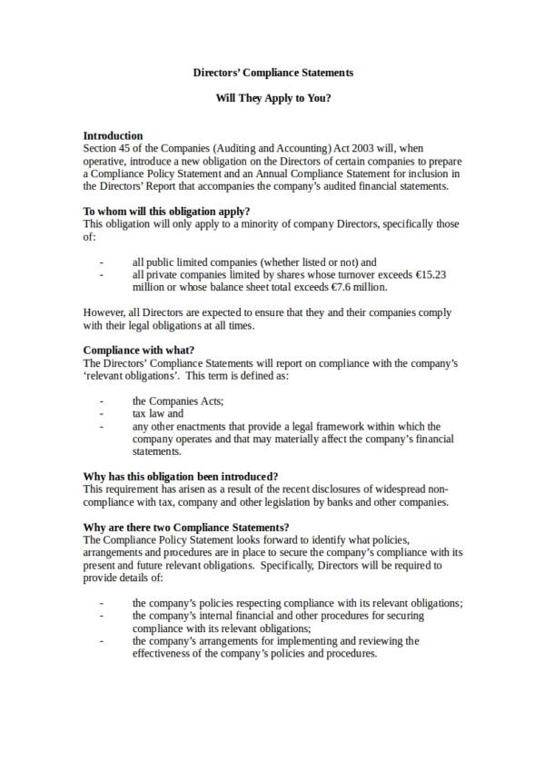 directors compliance statements