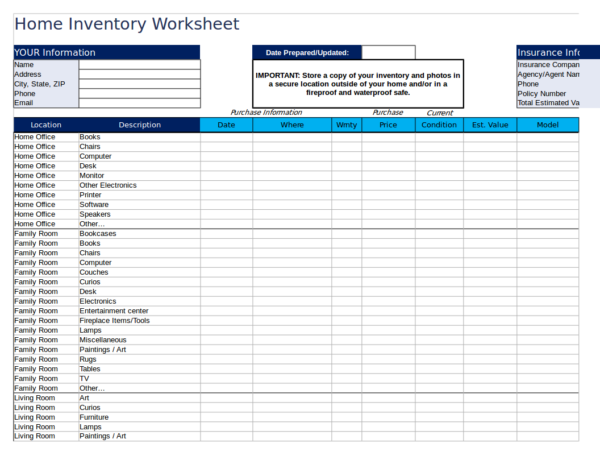 editable home inventory worksheet template