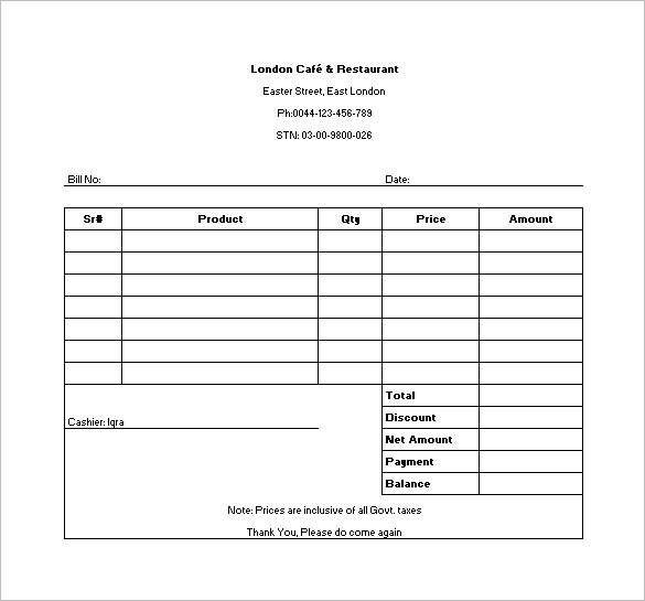 free 10  restaurant invoice samples  u0026 templates in pdf
