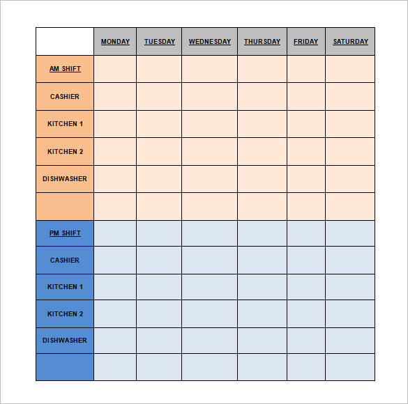 editable restaurant shift schedule template
