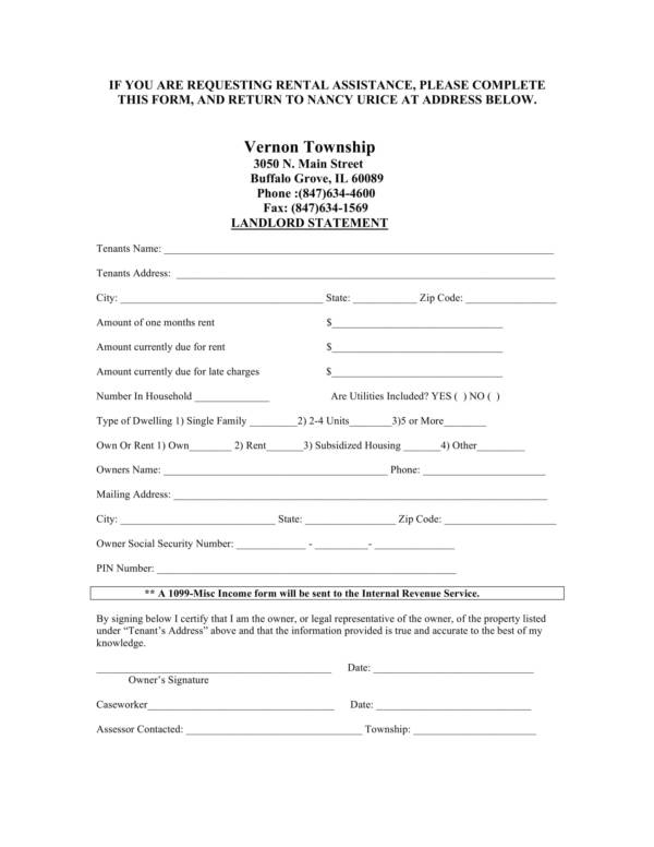 emergency assistance landlord statement template 1