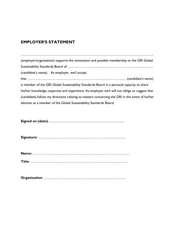 14  employer statement samples  u0026 templates