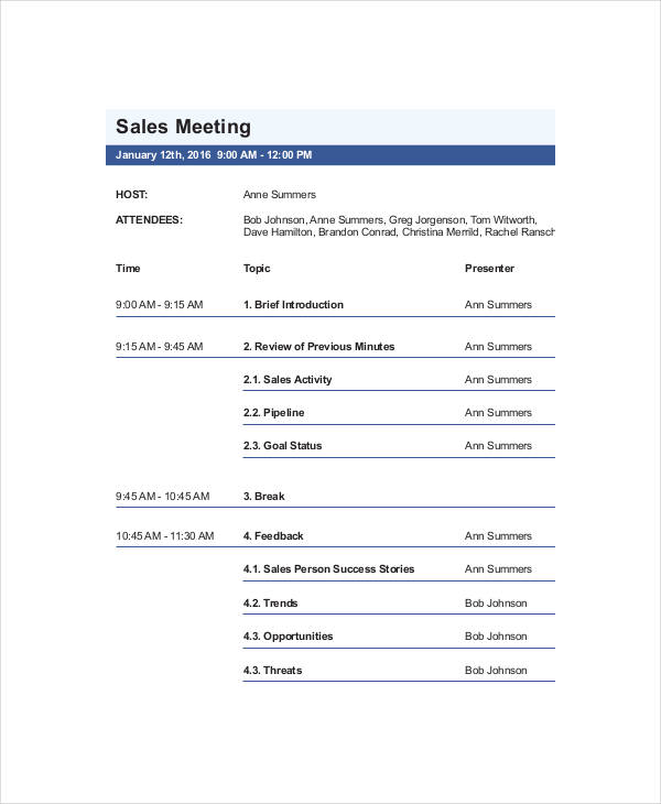 example marketing sales meeting agenda template